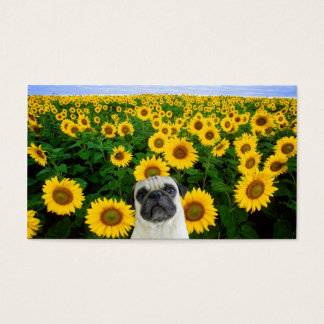 Pug in Sunflowers business cards