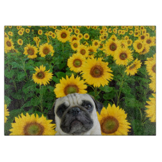 Pug in sunflowers cutting board