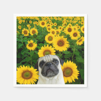 Pug in sunflowers disposable napkin