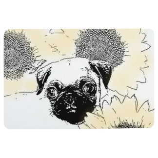 Pug in Sunflowers floor mat
