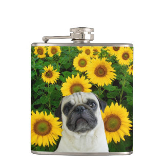 Pug in sunflowers hip flasks
