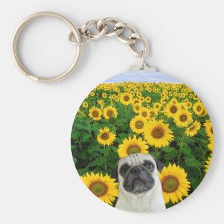 Pug in Sunflowers keychain