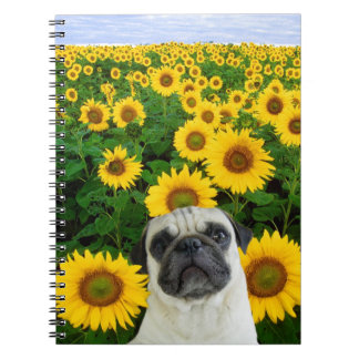 Pug in sunflowers notebook
