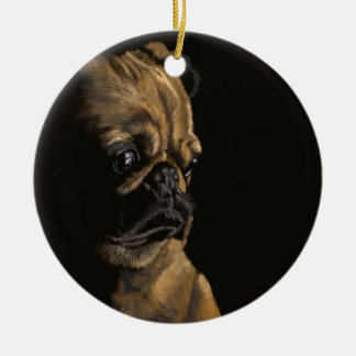 Pug in Thought Christmas Ornament