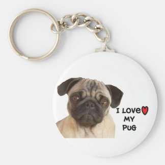 "Pug Keychain""I love my Pug"" Key Ring"