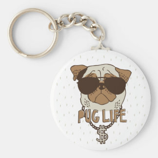 Pug Life Basic Round Button Key Ring