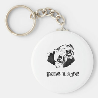 Pug Life Basic Round Button Key Ring
