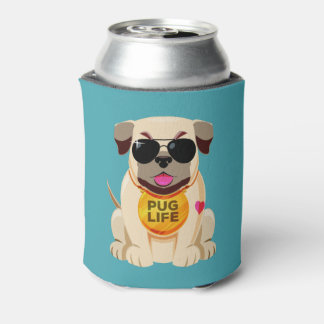 Pug Life custom name & color can cooler