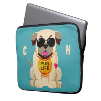 Pug Life custom name & color laptop sleeves