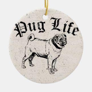 Pug Life Funny Dog Gangster Christmas Ornament