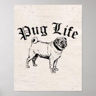 Pug Life Funny Dog Gangster Poster