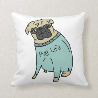 Pug Life - Funny Dog In A Sweater Cushion