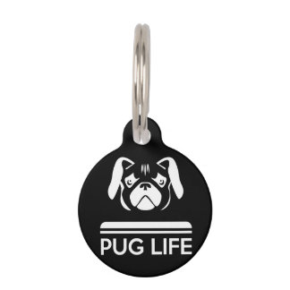 Pug Life Round Small Pet Tag