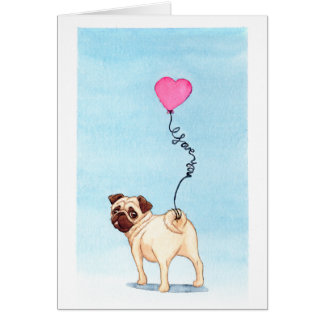 pug love greeting card