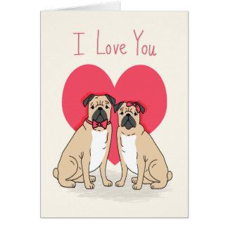Pug Love Card - pugs valentines card, cute pugs