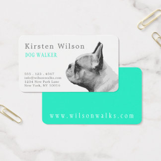 Pug Love | Personalized  Aqua Business Card