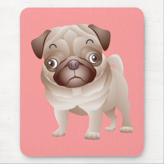 Pug Love Puppy Dog Pink Mouse Pad