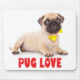 Pug Love Puppy Dog With Yellow Bow Mousepad