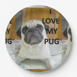 pug love w pic.png 9 inch paper plate