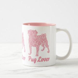 Pug Lover Pink Vintage Damask Two-Tone Mug