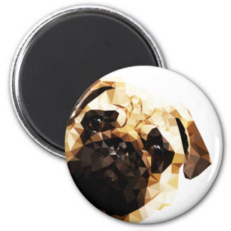 Pug Low Poly Art 6 Cm Round Magnet