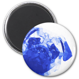 Pug Low Poly Art in Blue 6 Cm Round Magnet