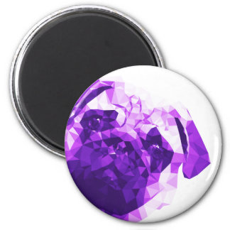 Pug Low Poly Art in Purple 6 Cm Round Magnet