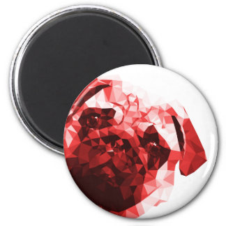 Pug Low Poly Art in Red 6 Cm Round Magnet
