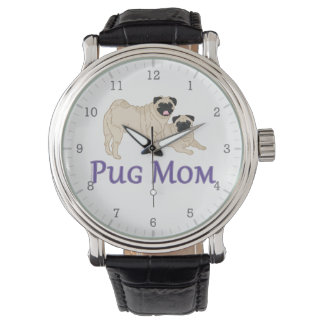 Pug Mom Pair Fawn Pugs Stylish Watch