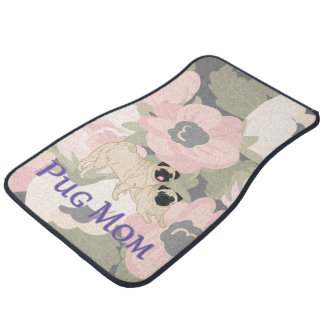 Pug Mom Poppy Floral Pink Flowers Car Mat