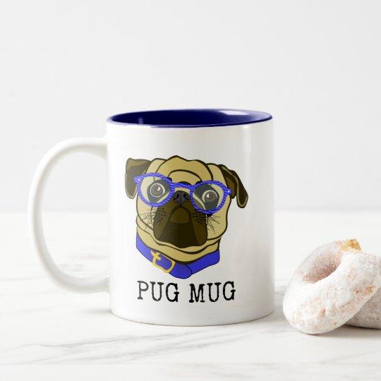 Pug Mug, Pug with glasses, Fun Mug