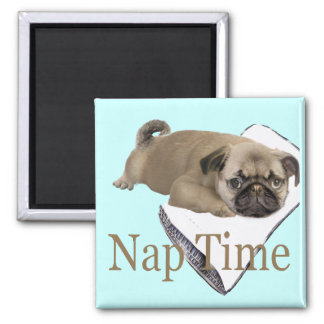 Pug Nap Time GIfts Square Magnet