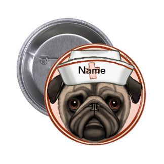 Pug Nurse 6 Cm Round Badge