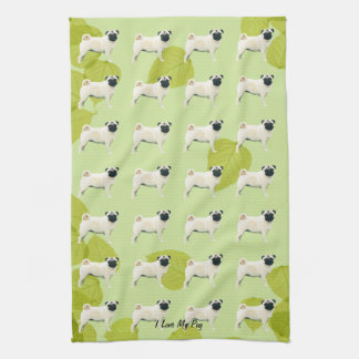 Pug on Green Leaves Hand Towel
