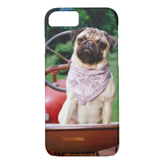 Pug on lawnmower wearing bandana iPhone 8/7 case