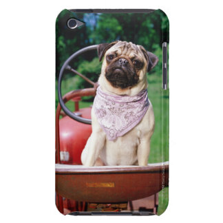 Pug on lawnmower wearing bandana iPod touch cases