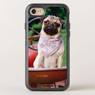 Pug on lawnmower wearing bandana OtterBox symmetry iPhone 7 case