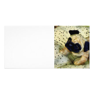 Pug on Pillow Personalized Photo Card
