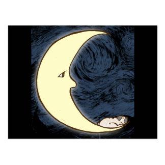 Pug on the Moon Postcard