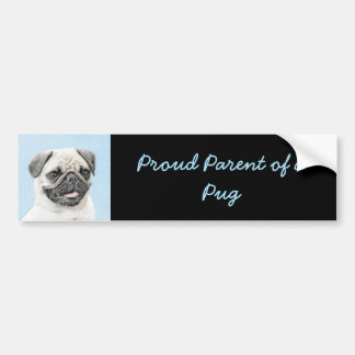 Pug Painting - Cute Original Dog Art Bumper Sticker