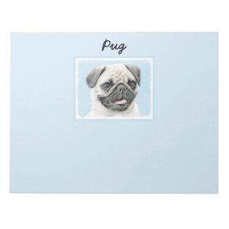 Pug Painting - Cute Original Dog Art Notepad