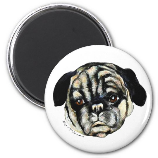 Pug painting on canvas Magnet