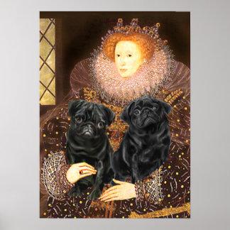 Pug Pair (black) - Queen Poster