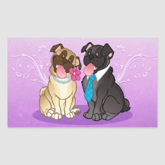 Pug Pair (Fawn/Black) Large Rectangle Stickers