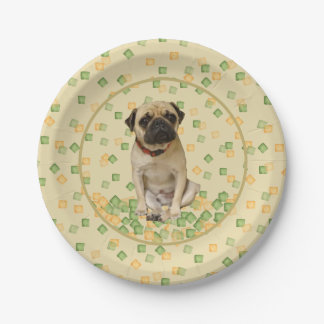 Pug Party in Hand Painted Earth Tones 7 Inch Paper Plate