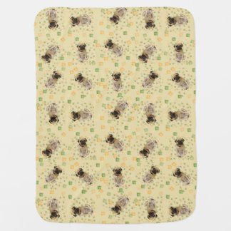 Pug Party in Hand Painted Earth Tones Baby Blanket