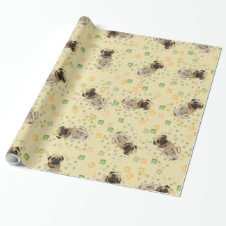 Pug Party in Hand Painted Earth Tones Wrapping Paper