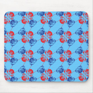 Pug Pattern red blu Mouse Mat