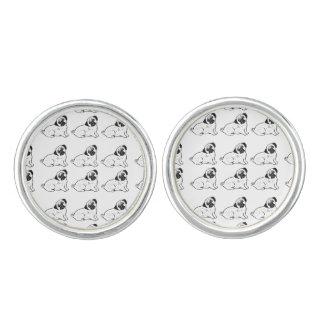 Pug Pattern Round Cufflinks, Silver Plated Cufflinks