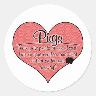 Pug Paw Prints Dog Humor Sticker